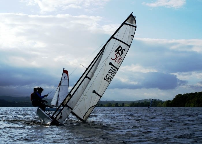 Instructor recovering dinghy
